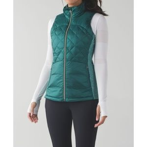 Lulu Down For A Run Vest Forage Teal Winter Puffer